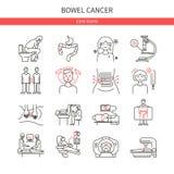 Linjära symboler för tarmcancer vektor illustrationer