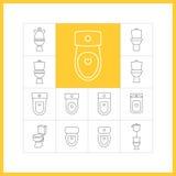 Linjära symboler för toalett Stock Illustrationer