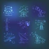 Linjära symboler för utforskning av rymden Arkivfoton