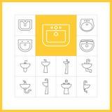 Linjära symboler för vask Stock Illustrationer