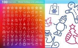 Linjära symboler för vektor för jul och nytt år Arkivfoton
