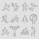Linjära symboler uppsättning, vektorkontur, plan konditionlogo, stencilemblem, linje formidrottsman nenperson för sport Lag för ö royaltyfri fotografi