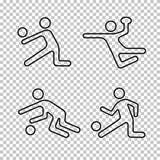 Linjära vektorsymboler uppsättning, bollspellogo, kontur för formidrottsman nenperson, stencilemblem, linje formidrottsman nenper arkivfoto