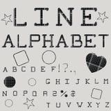 Linjärt alfabet Utskrivaven stilsort geometrisk modell Royaltyfri Foto