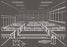 Linjärt arkitektoniskt skissar klassrumet på grå bakgrund Royaltyfria Bilder