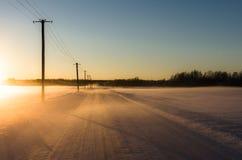 Linjärt perspektiv av telefonpoler som fodrar en snöig väg i ett vintrigt landskap Royaltyfri Bild