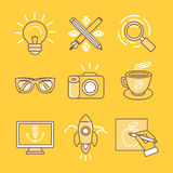 Linjärt symboler och tecken för vektor stock illustrationer