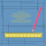 Linjal och blyertspenna på en blå bakgrund med ramar Stock Illustrationer