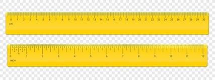 Linjalcm och tum skalavektorplast- vektor illustrationer