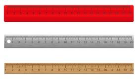 Linjaler som göras plast- trä för ââof och, belägger med metall Royaltyfri Fotografi