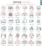Linje översiktssymboler för lägenhet för vektorkontorsfärg för apps och rengöringsdukdesign Symboler för kontorsbeståndsdelhjälpm stock illustrationer