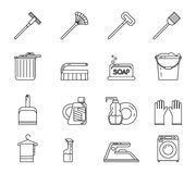 Linje Art Household Cleaning Symbols Accessories stock illustrationer