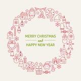 Linje Art Icons Set Circle för ferie för nytt år för jul stock illustrationer