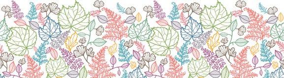 Linje Art Leaves Horizontal Seamless Pattern vektor illustrationer