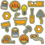 Linje Art Thin Vector Icons Set för husreparationsrenovering Arkivbild