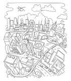 Linje attraktion, futuristisk stadsarkitektur Fotografering för Bildbyråer