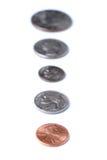 Linje av amerikanska mynt Arkivfoto