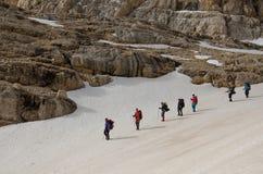 Linje av bergfotvandrare Royaltyfria Bilder
