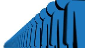 Linje av blått folk vektor illustrationer
