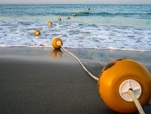 Linje av boj i havet fotografering för bildbyråer