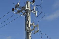Linje av elektroöverföringar arkivbild