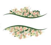 Linje av vattenfärgbuketten av gula rosor Royaltyfri Bild