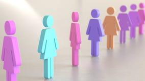 Linje av Vibrantly kulöra kvinnasymboler på enkla ljusa Grey Surface Arkivbild