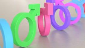 Linje av Vibrantly kulöra kvinnliga symboler på enkla ljusa Grey Surface Royaltyfria Foton
