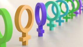 Linje av Vibrantly kulöra manliga symboler på enkla ljusa Grey Surface Arkivbild