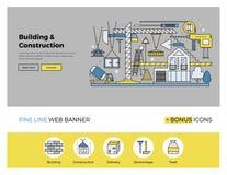 Linje baner för konstruktionsbyggnadslägenhet royaltyfri illustrationer
