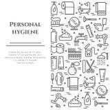 Linje baner för personlig hygien Uppsättning av beståndsdelar av duschen, tvål, badrummet, toaletten, tandborsten och andra lokal royaltyfri illustrationer