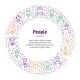 Linje banerkortcirkel för personal för folkAvatarstecken tunn vektor Arkivbild