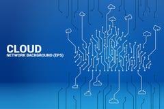 Linje begrepp för strömkrets för molnberäkningsnätverk stock illustrationer