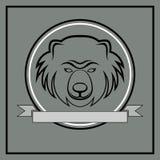 Linje björnhuvudemblem Royaltyfria Bilder