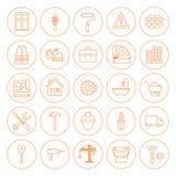 Linje cirkelbyggnad och konstruktionssymbolsuppsättning Arkivfoto