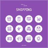 Linje colorfuulsymbolsuppsättning av E-komrets och shopping Royaltyfria Bilder