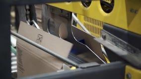 Linje danandeaskar för propduct för papptillverkningmaskin gem Packad kurir på produktionslinje mot papp arkivfilmer