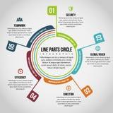 Linje delcirkel Infographic Royaltyfria Bilder