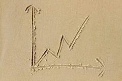 Linje diagram som dras i sanden Royaltyfri Fotografi