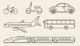 Linje diagramuppsättning av olikt personligt och kollektivtrafik Royaltyfria Bilder