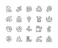 Linje Eco symboler stock illustrationer