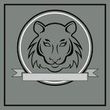 Linje emblem för tigerhuvudlogo Arkivbilder