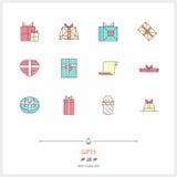 Linje färgsymbolsuppsättning för gåvaaskar Massor av gåvor Arkivfoto