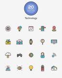 Linje färgteknologisymboler vektor illustrationer