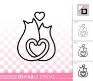 Linje förälskelsevektorsymbol för romantiska par för katter enkel stock illustrationer