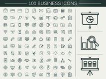 linje för affär 100 symbolsuppsättning stock illustrationer