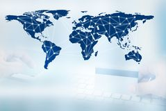 Linje för Digitalt nätverk och cirklar, affärsteknologibegrepp royaltyfri bild