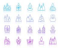 Linje för färg för stearinljusflamma enkel symbolsvektoruppsättning vektor illustrationer