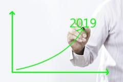 Linje för faktisk graf för text 2019 och affärsmanHand Point On grön fotografering för bildbyråer