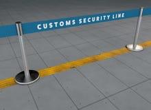 Linje för flygplatssäkerhet, passageraretrafikledning Matande linjer Blodstockningavvikelser Tullkontroller Vägledd bana Fotografering för Bildbyråer